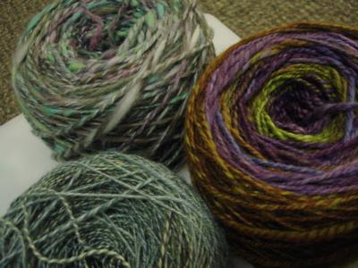handspun yarn cakes